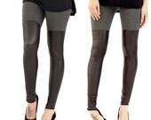 SALE 20% BABOOSHKA Two Tone Thigh High Leggings on Charcoal Gray Matte Black PU Faux Vegan Leather - High Waisted Women's Pants Goth Yoga Lo