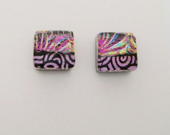 Tiny dichroic glass post earrings.