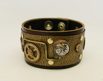 Steampunk leather cuff bracelet.