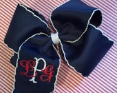 Embroidered Monogram Hair Bow Boutique Accesssory Monogrammed
