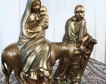 Vintage Gold Ceramic Holy Family Figurines Holland Mold