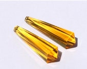 55% OFF SALE 2 Pcs 33x7 mm AAA Citrine Quartz Faceted Fancy Elongated Drop Briolettes / Gemstone Briolette Fancy Briolette