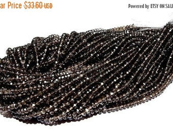 55% OFF SALE Genuine AAA Smoky Quartz Micro Faceted Rondelles Full 14 Inches Long Size 3.5mm Approx