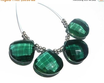 55% OFF SALE 4 Pieces 2 Matched Pair of AAA Chrome Green Quartz Faceted Heart Briolettes Size 15x15mm Approx