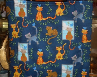 Cats Tote Bag Windows Ivy Blue Birds Handmade Purse Limited