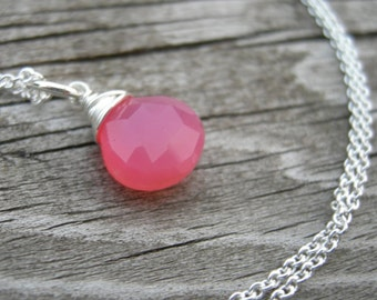 Punch Pink Chalcedony Sterling Wire Wrapped Necklace