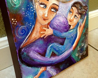 "original 8x8"" Mother cradling Child painting on canvas - Awake - blue and purple - FREE PENDANT"