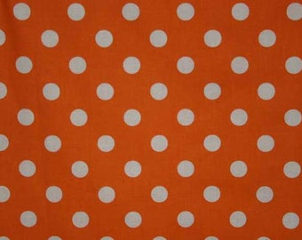 Orange Fabric with White Dots By the Yard, Quarter Yard, Fat Quarter Tangerine Bright Orange Polka Dot Fabric Cotton Quilting Fabric w8/34