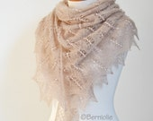 Beige lace knitted shawl with 1050 glass beads, N411