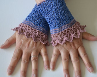 Lace crochet wristlets, cotton, P485