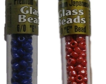 6/0 E Bead 9 grams - Dark Blue or Pearlized Red fnt