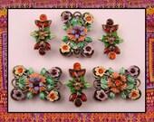 Beads Designer Flowers SunOrange & Siam Swarovski Crystal Elements 2 Hole QTY 6