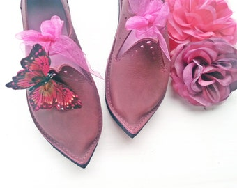 Fairy shoes, Plum perfection, TITANIA, Handmade Leather Fairytale Wedding Shoes, pick a colour