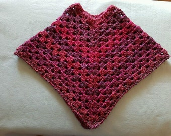 Girl's Size Hand Crochet Poncho in Pinks n Purples Fresh off the Hook New