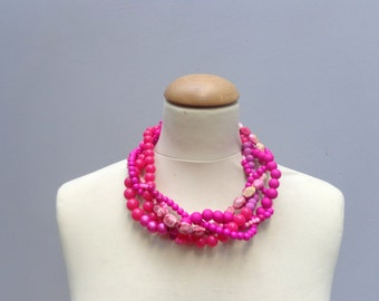 pink Pearl chunky Statement necklace, multi strand necklace, wedding jewelry