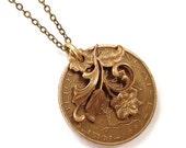 SALE 35% OFF French franc flower coin necklace, vintage franc, 1984