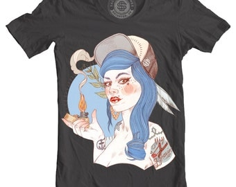 Miss Behaving, Tattooed Girl, Unisex T-Shirt, Gray or White, XS,S,M,L,XL,XXL