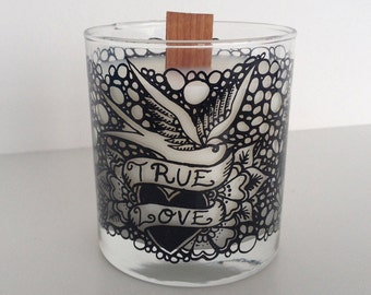 True Love, Nautical Swallow Glass Candle – Scent, Ocean Breeze