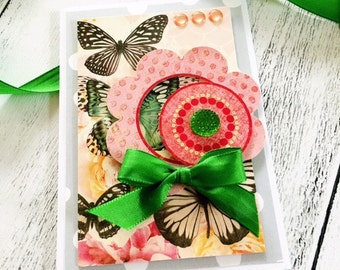 Flowers are blooming Gretting Card, All Occasion, Happy Mail, Friend, Birthday, Love Letter, Handmade Gift Card