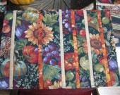 Fall Place Mats With Sunflowers, Gourds and Vegetables