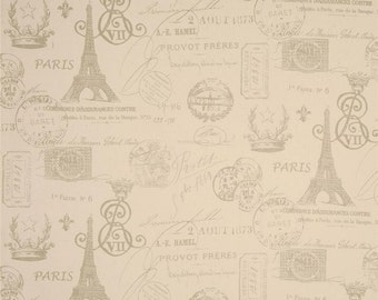 French Stamp on Natural Table Runner - Weddings, Receptions, Parties, Dining Table, Buffet, Home Decor