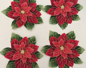 Poinsettias - Iron On Fabric Appliques - Christmas