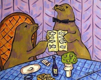 ON SALE Sea Lion Food Critic Animal Art Tile Coaster