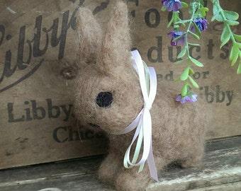Brown Bunny Spring Needle Felted Decoration Wool Alpaca Mothers day birthday decor rabbit Lovinclaydolls