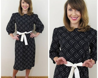 25% Off Sale 80s P. V. Rich Black and White Dot Puffed Sleeve Dress, Size Small