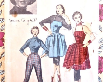 Vintage 1950s Jeanne Campbell Apron Dress, Capri Pants, and Blouse Pattern - Advance 5992