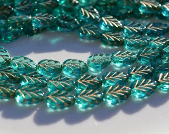 Teal Leaves with Gold Inlay Czech Glass Beads  25