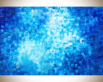 "36"" Abstract painting blue art Original painting large wall art wall decor painting on canvas blue home decor mixed ""Healing"" by qiqigallery"