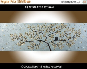 """Acrylic painting BIRDS art wall decor wall art Metallic silver Impasto palette knife wall hangings Wedding Gift """"Just Us"""" by QIQIGALLERY"""
