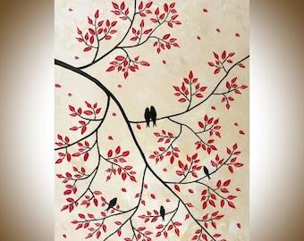 "Mordern Wall Art Birds on tree branch Acrylic painting wall art wall decor decorative art Impasto home Office Wall Hangings ""Family Tree"""