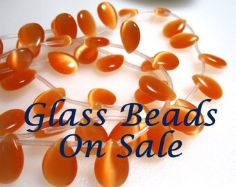 On Sale 10 Orange Cat's Eye beads, Tear drop Grade A beads, Top drilled and measure 15x10x4mm #4 GB 479