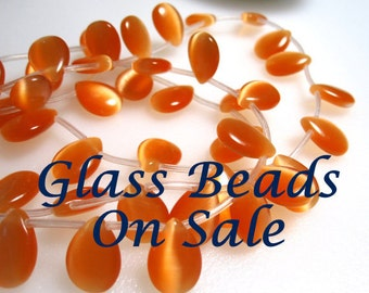 10 Orange Cat's Eye beads, Tear drop Grade A beads, Top drilled and measure 15x10x4mm #4 GB 479