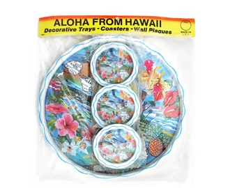 "New Vintage Hawaii Metal Tray and Coasters Set still in Package ""Aloha From Hawaii"""