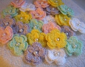 Crochet Flowers Double Layered Bulk Set of 25 in BABY SHOWER THEME