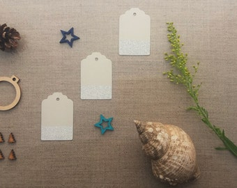 fancy gift tags - medium size pale grey with silver dip edge and silver thread