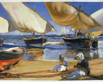 On the Beach at Valencia - Joaquin Sorolla y Bastida hand-painted oil painting reproduction,women repair fishing nets beach,beached sailboat