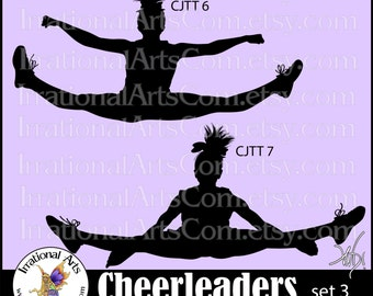 Cheerleader Jump Toe Touch Sillhouettes set 3 - Vinyl Ready Image digital clipart graphics - 2 EPS, SVG, or PNG files