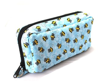 Essential Oil Case Holds 10 Bottles Essential Oil Bag Bumble Bees on Blue