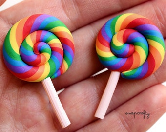 5pc bright rainbow colored swirl lollipops / miniature clay sweets / kawaii fake candy / lolly embellishments / faux lolli cabochon flatback