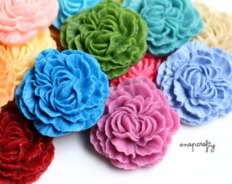 10pc resin peony flower cabochon / 18 colors pastels + brights / 32mm ruffled resin flower cab / large flat back flower embellishment