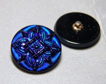 Czech Round Iridescent Deep Blue and Purple 27mm Glass Buttons (1)