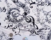 MOZART'S MIND White Concerto Music Cotton Quilt Fabric by the Yard, Half Yard, or Fat Quarter - Benartex 06248