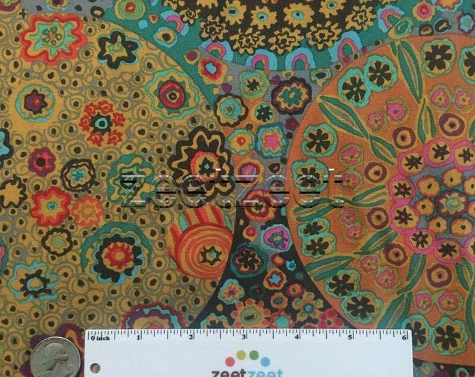 Kaffe Fassett MILLEFIORE ANTIQUE GP92 Quilt Fabric - by the Yard, Half Yard, or Fat Quarter Fq Brown Purple Teal Black