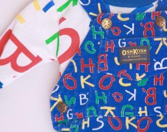 Vintage OshKosh infant overalls with matching shirt 3 to 6 months alphabet print
