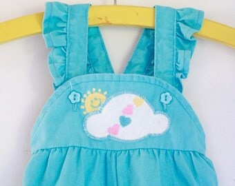Vintage girls turquoise overalls by Healthtex 9 to 12 months