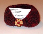 Handmade Felted Business Card Holder - Red and Black - Wool & Mohair (BC1-005)